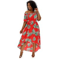 Lovedrobe Tropical Dip Back Bardot Dress