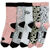5 Pack Cruella Devil Cotton Rich Socks
