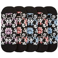 5 Pack Floral Footsie Socks