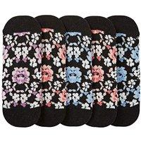 5 Pack Floral Footsie Socks