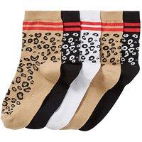 5pk Leopard Ankle Socks-wide Fit