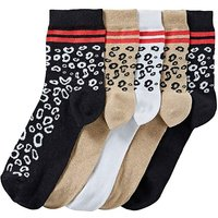 5 Pack Leopard Print Ankle Socks