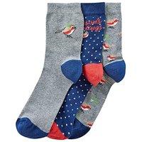 3 Pack Festive Robin Socks