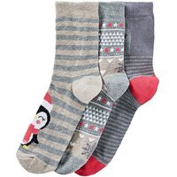 3 Pack Festive Penguin Socks