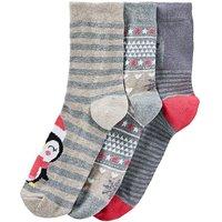 3 Pack Festive Penguin Socks