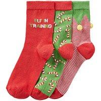 3 Pack Festive Elf Socks