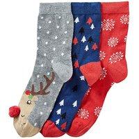 3 Pack Festive Rudolph Socks