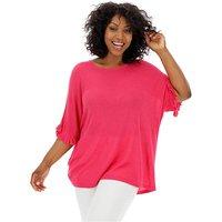 Fuchsia Ruffle Boxy Linen Mix T-Shirt