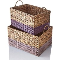 Set of 2 Water Hyacinth Baskets Two Tone