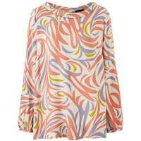I.Scenery High Neck Printed Blouse.