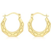 9Ct Gold Patterned Creole Earrings.