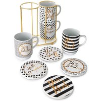 Gold Text 8Pc Mug & Coaster Set at JD Williams Catalogue