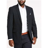 Blue Check Herringbone Blazer Long