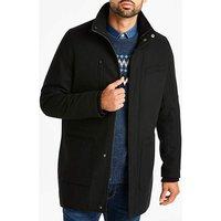 Black Funnel Neck Wool Rich Coat.