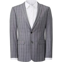Grey Slim Stretch Checked Jacket R