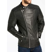 Black Smart Leather Jacket L