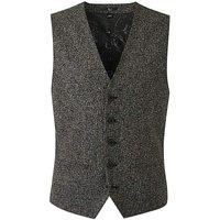 Black Textured Slim Waistcoat L