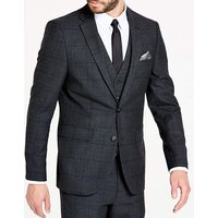 Charcoal Wool Checked Slim Jacket R