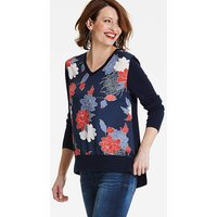 2 in 1 Knitted Woven Print V Neck
