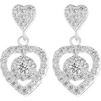 Sterling Silver CZ Heart Drop Earring at Simply Be Catalogue Store