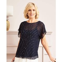 Nightingales Navy Occasion Beaded Top