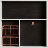 Wood Chalkboard Wall Tray & Metal Basket