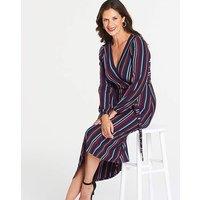Oasis Curve Jersey Stripe Wrap Dress