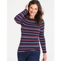 Oasis Curve Jersey Stripe Boatneck Top