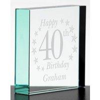 Personalised Birthday Glass Block