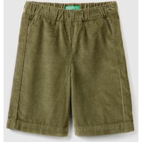 Benetton, Cropped Velvet Trousers, size 90, Military Green, Kids