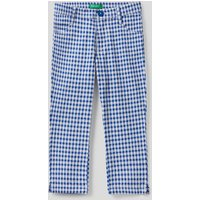 Benetton, Cropped Check Trousers, size XS, Sky Blue, Kids
