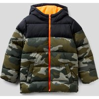 Benetton, Camouflage Pattern Padded Jacket, size S, Military Green, Kids
