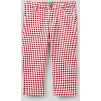 Benetton, Cropped Check Trousers, size KL, Brick Red, Kids
