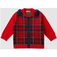Benetton, Tartan Cardigan With Bows, size 82, Red, Kids