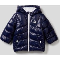Benetton, Padded Jacket In Recycled Wadding, size 90, Dark Blue, Kids