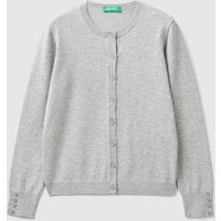 Benetton, Cardigan With Buttons, size KL, Gray, Kids