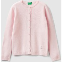 Benetton, Cardigan With Buttons And Rhinestone Logo, size M, Pink, Kids