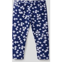 Benetton, Printed Leggings In Stretch Cotton, size 74, Blue, Kids