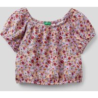 Benetton, Crop Top With Floral Print, size XL, Pink, Kids