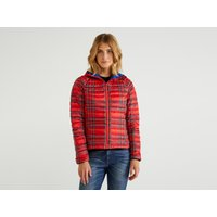 Benetton, Puffer Jacket With Hood, size 40, Red, Women