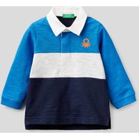 Benetton, Rugby Polo In 100% Cotton, size 68, Bright Blue, Kids