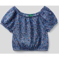 Benetton, Crop Top With Floral Print, size S, Air Force Blue, Kids