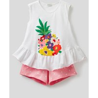 Benetton, Cotton Pyjamas With Camisole And Shorts, size KL, White, Kids