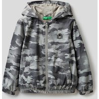 Benetton, Camouflage Jacket In Technical Fabric, size L, Gray, Kids