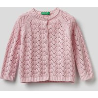 Benetton, Knit Cardigan In Pure Cotton, size 68, Soft Pink, Kids