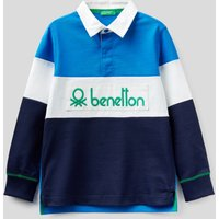 Benetton, Rugby Polo In 100% Cotton, size XL, Bright Blue, Kids