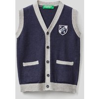 Benetton, Vest With Buttons In Wool Blend, size 90, Blue, Kids