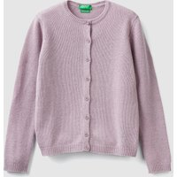 Benetton, Cardigan With Buttons And Rhinestone Logo, size S, Lilac, Kids