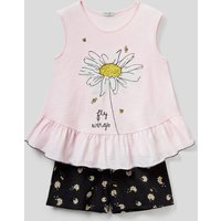 Benetton, Cotton Pyjamas With Camisole And Shorts, size XS, Soft Pink, Kids