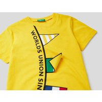 Benetton, Short Sleeve Cotton T-shirt, size L, Yellow, Kids